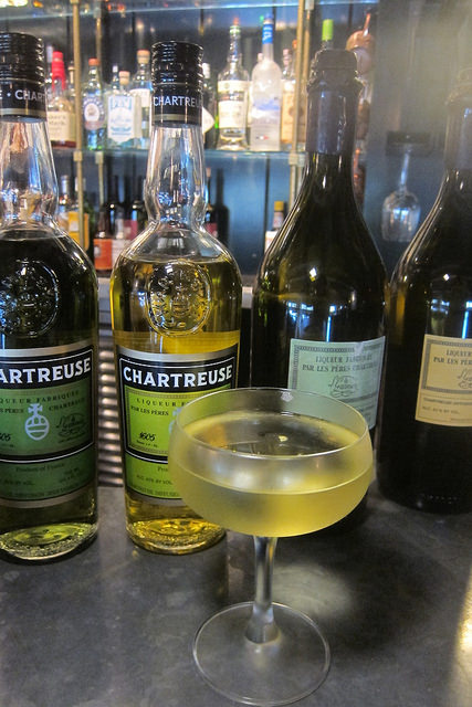 Chartreuse line up + Alaska cocktail