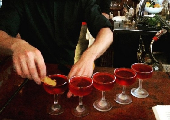 a round of Partida Negronis at Little Dom's